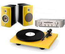 "The ""Sunset Yellow"" Bundle - Focal Kanta No1 Bookshelf speakers + Pro-Ject Debut Carbon Evo + Marantz PM6007"