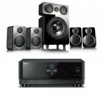 Yamaha RX-V4A 5.1 8K HDMI 2.1 AV Receiver-Black + Wharfedale DX-2 HCP 5.1 Speaker Package