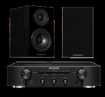 Marantz PM6007 Amplifier and Wharfedale Diamond 12.1 Speakers in Black