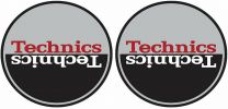 Technics MOON 3 Slipmats - Black, Red & Silver Antistatic Slipmats for Turntables (Pair)
