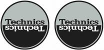 Technics Moon 1 - Black & Silver Mirror Antistatic Slipmats for Turntables (Pair)